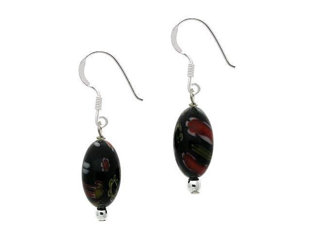 Sterling Silver .925 Murano Glass Black Oval Bead Millefiori Dangle Earrings