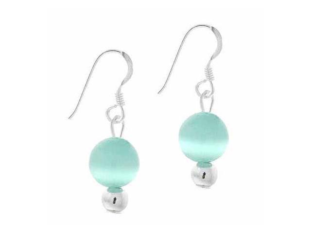 Sterling Silver 6mm Simulated Teal Cats Eye Stone Bead Beaded Dangle Hook Earrin