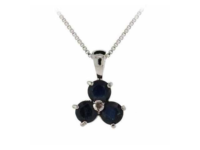 Sterling Silver Genuine Diamond Accent and Sapphire Three Stone Pendant