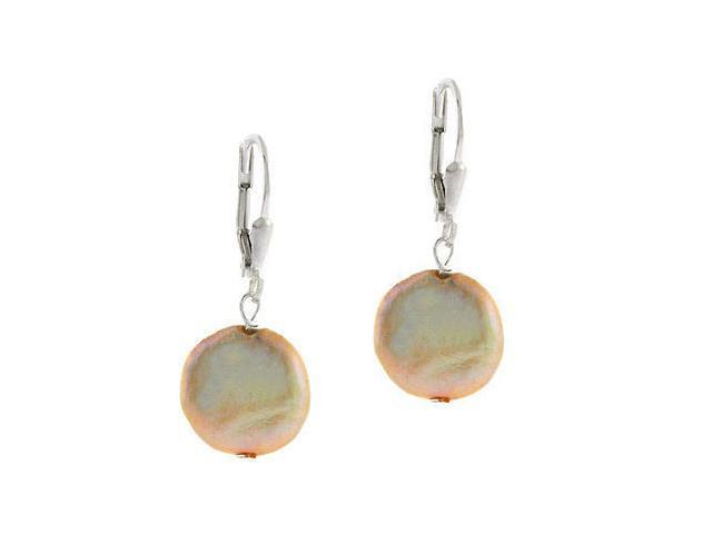 Genuine Freshwater Cultured Peach Coin Pearl LeverBack Lever Back Earrings