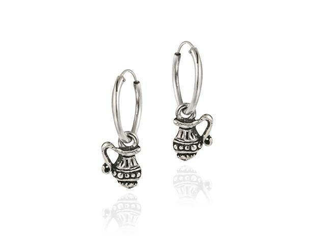 Sterling Silver Dangling Jug Small Hoop Earrings