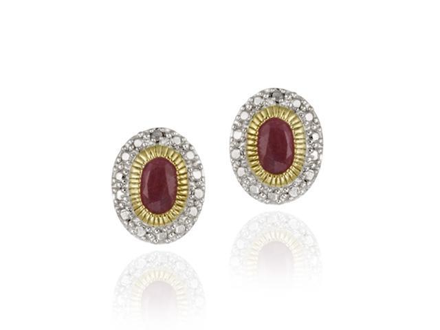 Two-Tone Sterling Silver & 18K Gold over Silver Diamond Accent Oval Ruby Earring