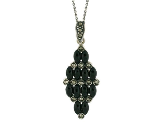 Sterling Silver Marcasite & Onyx Cluster Pendant