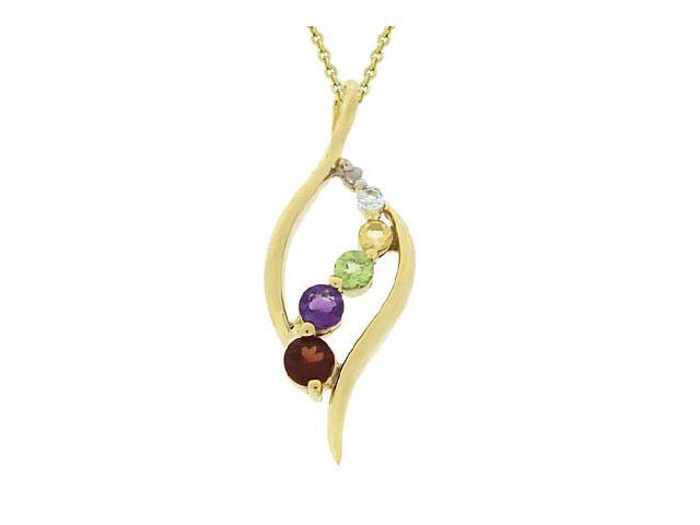 18k Gold over Silver Diamond Accent Multi Gemstone Pendant