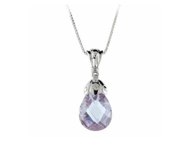 Sterling Silver Simulated Diamond cz and Lavender Teardrop Pendant