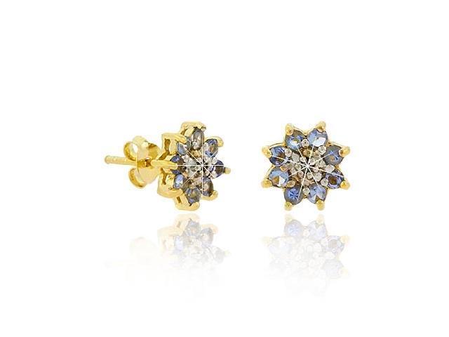 18K Gold over Sterling Silver Lavender CZ & Diamond Accent Flower Stud Earrings