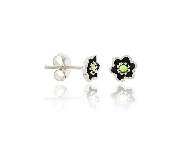 Sterling Silver .925  6mm Light Green Rhinestone Mini Kid Floral Flower Stud Ear