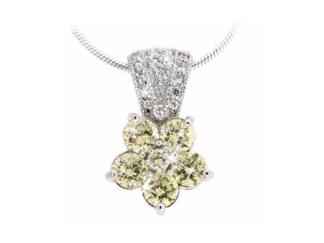 Sterling Silver Simulated Diamond CZ and Yellow Cubic Zirconia Pave Flower Penda