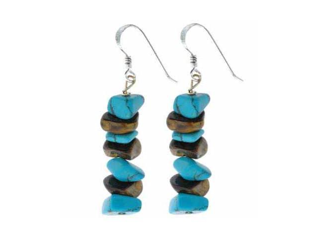 Sterling Silver Genuine Tiger Eye and Reconstituted Turquoise Chip Earrings