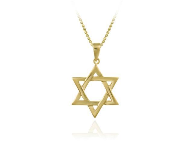 18K Gold over Sterling Silver Polished Star of David Pendant