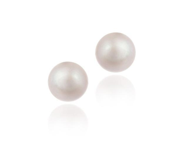 Sterling Silver Freshwater Cultured 10-10.5mm Pink Pearl Stud Earrings
