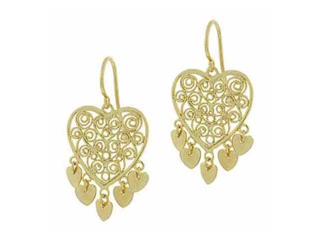 18K Gold over Sterling Silver Filigree Heart Disc Chandelier Earrings