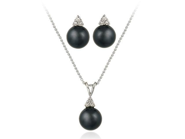 Sterling Silver Simulated Gray Pearl w/ CZ Pendant & Earrings Set