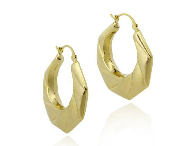 18K Gold Over Sterling Silver Geometric Spiraled Hoop Earrings
