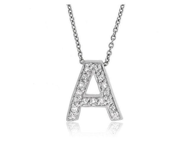 Sterling Silver CZ Letter A Initial Pendant