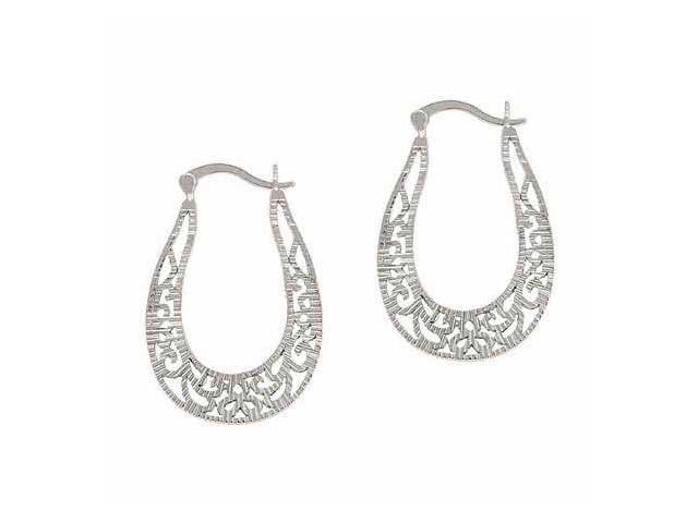 Vintage Sterling Silver D Cut Filigree Oval Earrings