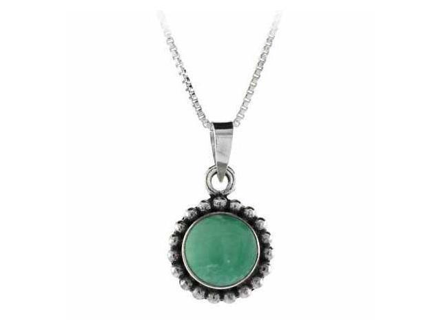 Sterling Silver Bali Beaded Genuine Variscite Stone Circle Pendant