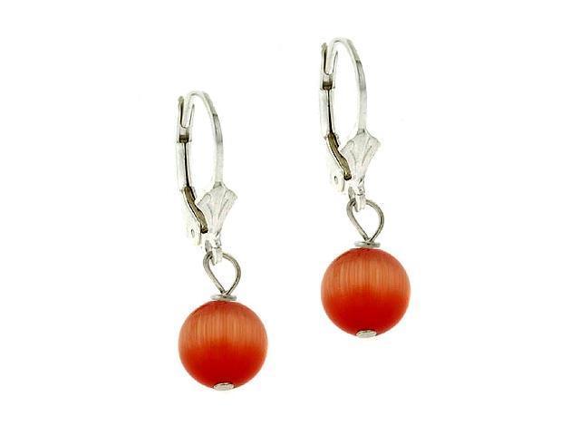 Sterling Silver 8mm Orange Cats Eye Leverback Earrings