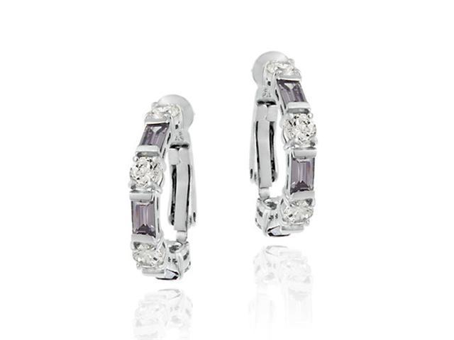 Simulated Amethyst cz and Simulated Diamond CZ Omega Hoop Silver Earrings
