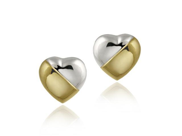 Sterling Silver & Gold Overlay Two Tone Puffed  Heart Earrings