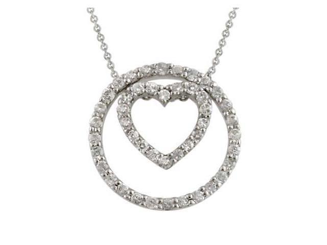 Sterling Silver 3-1 CZ Heart & Circle Pendant