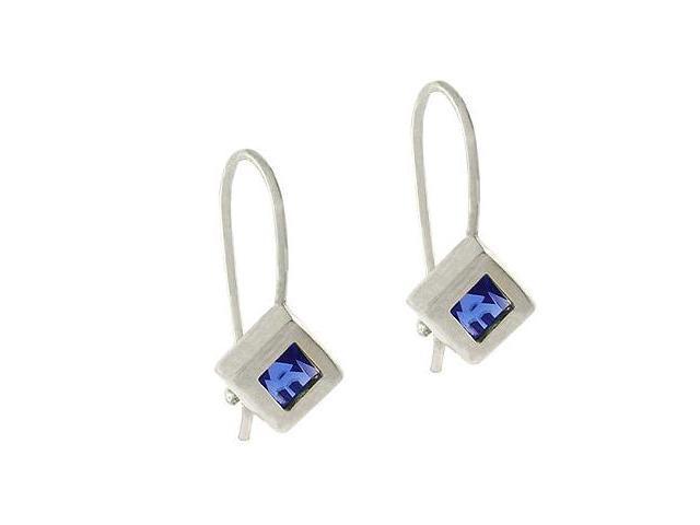 Sterling Silver .925 Simulated Tanzanite cz Hook Cube Dangle Earrings
