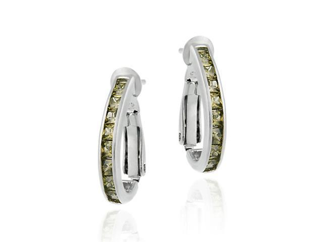 Sterling Silver Channel Set Olive Green CZ Half Hoop Earrings