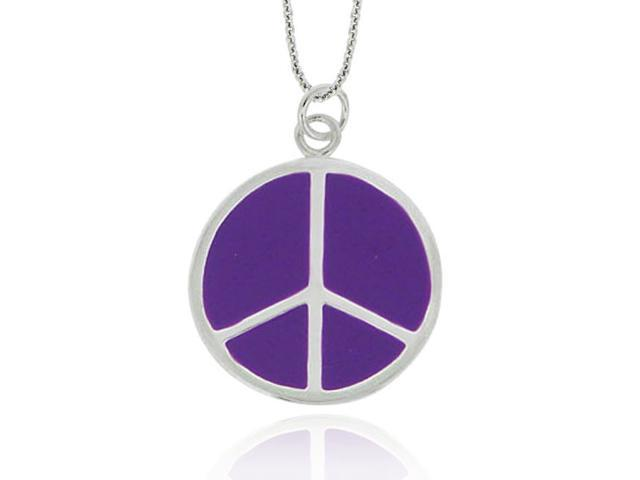 Sterling Silver Purple Enamel Peace Sign Pendant