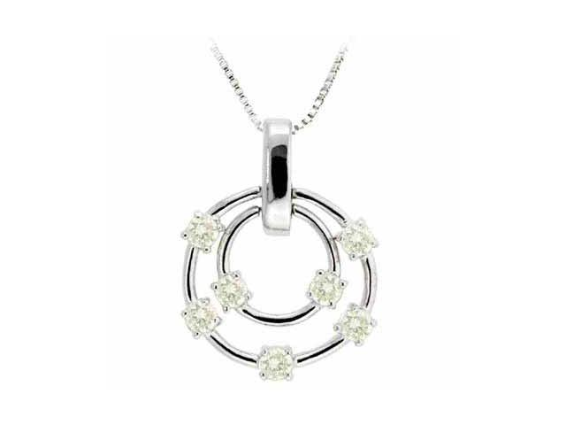 Sterling Silver Floating Yellow Cubic Zirconia Double Circle Pendant