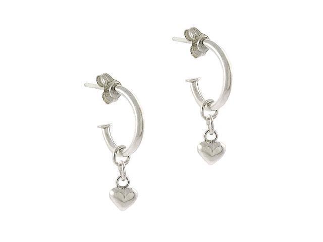 Sterling Silver .925 Dangle Half Hoop Puffed Heart Charm Earrings