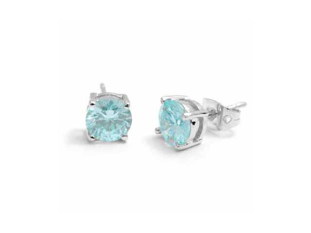 Sterling Silver Simulated Aquamarine CZ round Stud Earrings