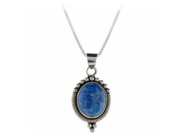 Sterling Silver Genuine Denim Lapis Stone Beaded Oval Pendant