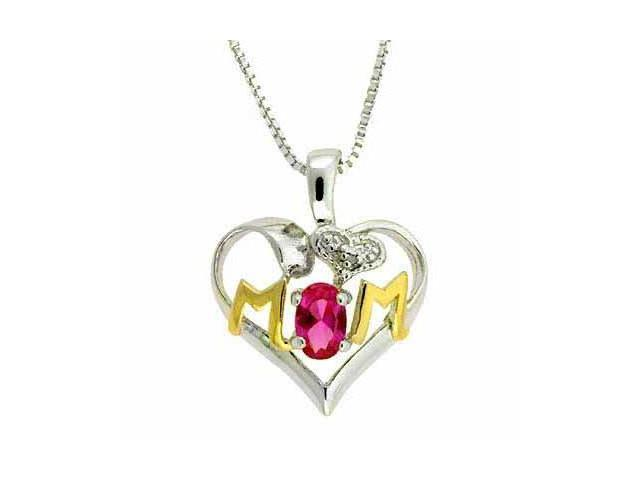 Sterling Silver Two-Tone Created Pink Sapphire & Diamond Accent MOM Heart Pendan