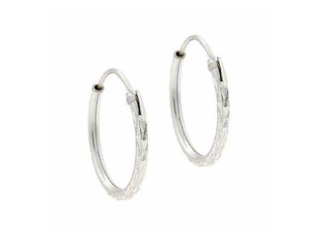 Sterling Silver Cut Mini Hoop 16 mm Earrings