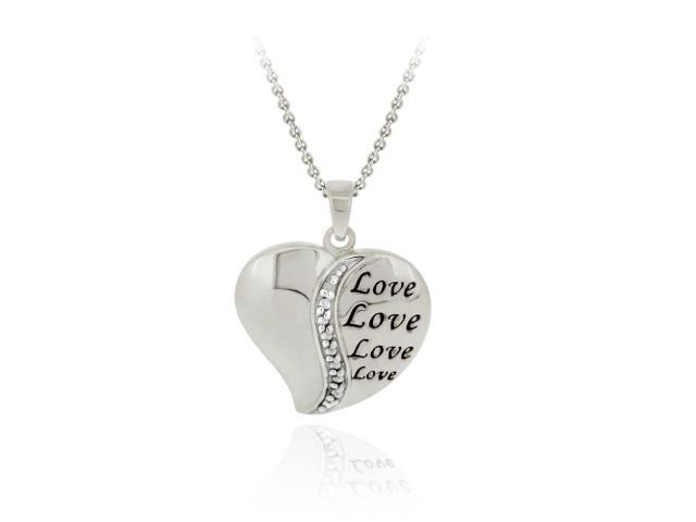 Sterling Silver Diamond Accent Polished 'LOVE' Heart Pendant