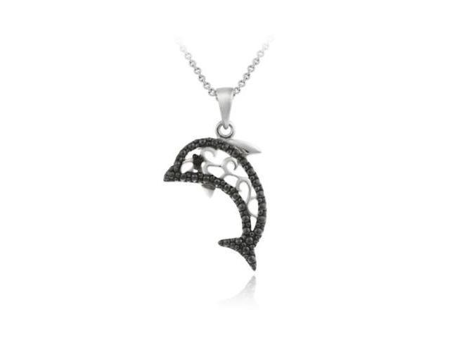 Sterling Silver Black Diamond Accent Dolphin Filigree Pendant
