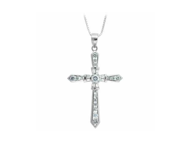 Sterling Silver Simulated Diamond CZ Elegant Cross Pendant