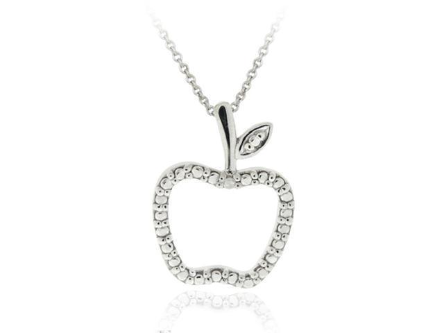 Sterling Silver Diamond Accent Apple Slide Pendant