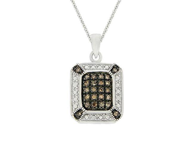Sterling Silver 1/4 ct. TDW Champagne Diamond Rectangle Pendant