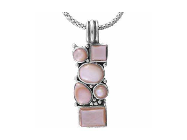 Trendy Sterling Silver Pink Shell  Pendant