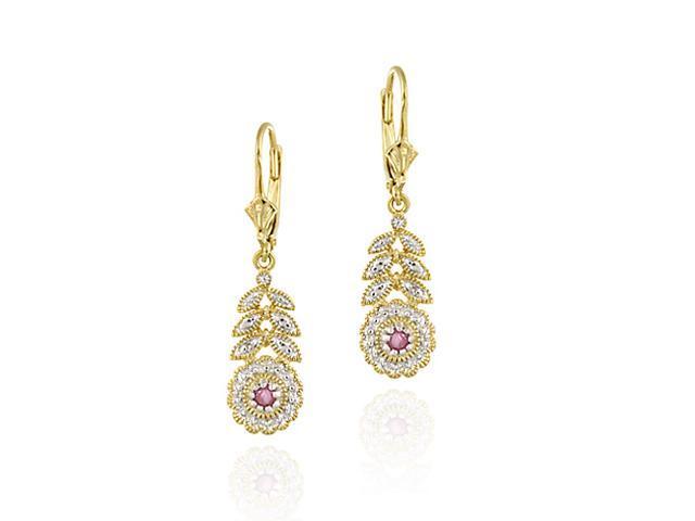 18K Gold over Sterling Silver Ruby & Diamond Flower w/ Leaves Leverback Earrings
