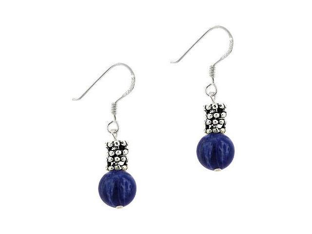 Sterling Silver .925 Genuine Soda Lite Stone Bead 8mm Dangle Bali Bead Earrings