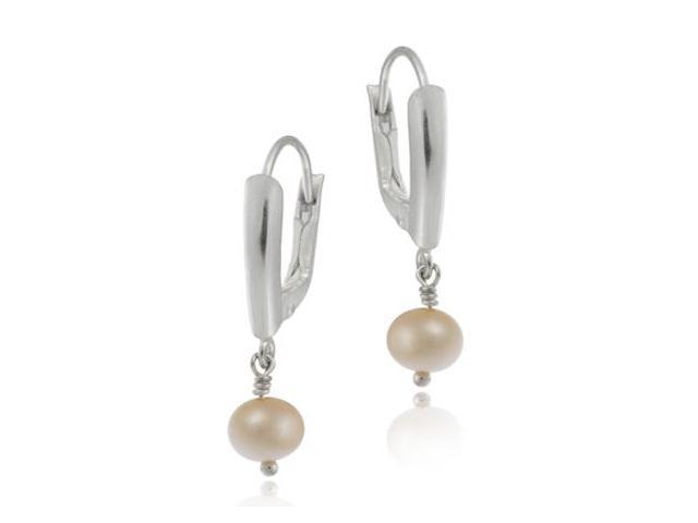 Sterling Silver Simulated Pink Pearl LeverBack Lever Back Dangle Earrings