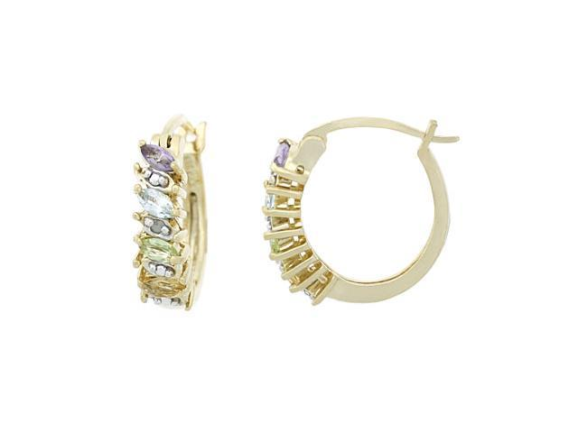 18K Gold over Sterling Silver Multi Gemstone & Diamond Accent Marquise Cut Hoop
