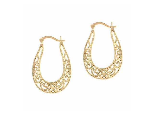 18K Gold over Sterling Silver Filigree Diamond Cut Oval Hoop Earrings