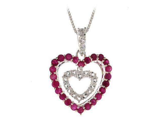 Sterling Silver Simulated Diamond cz and Genuine Ruby Double Heart Pendant