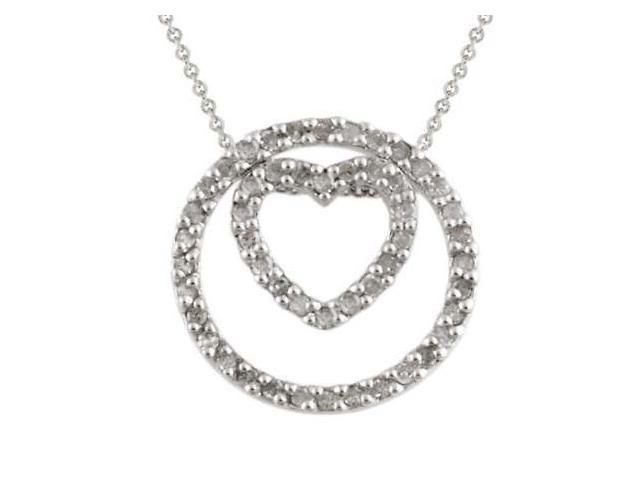 Sterling Silver 1/2 CTW Diamond 3-in-1 Circle & Heart Pendant