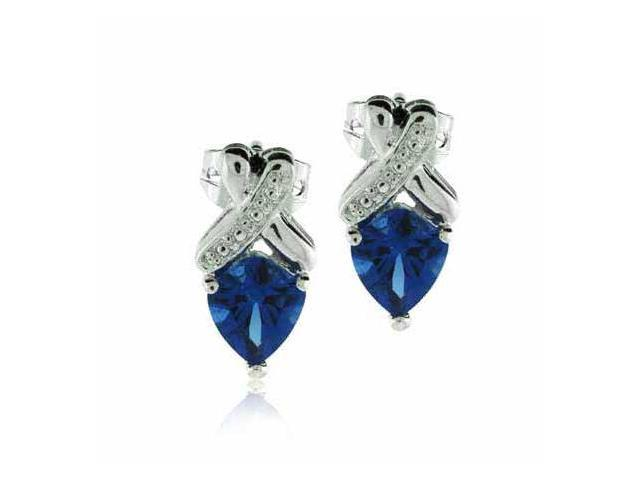 Sterling Silver Simulated Tanzanite Cubic Zirconia X Earrings