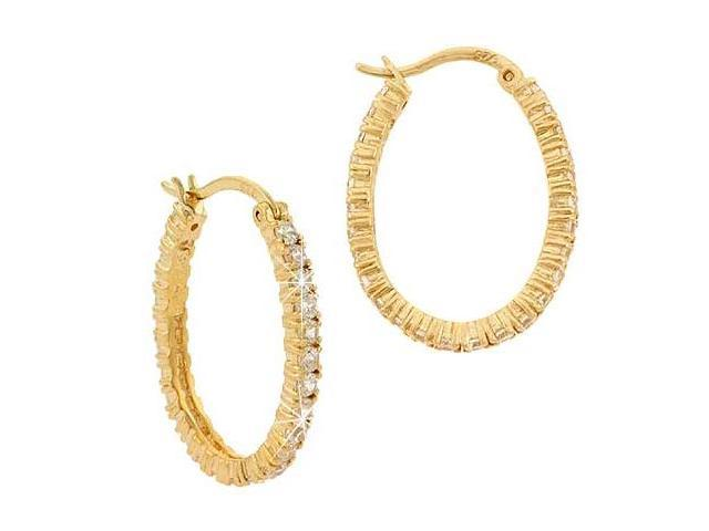 18K Gold over Sterling Silver CZ 26mm Oval Hoop Earrings
