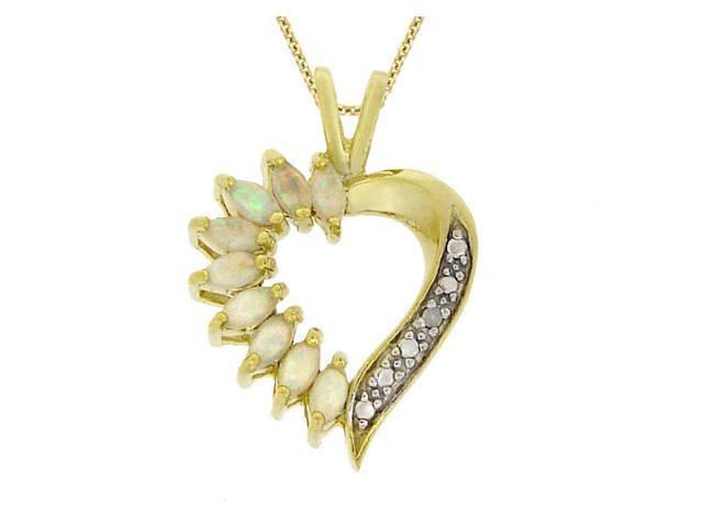 18k Gold over Silver Genuine Diamond Accent & Synthetic Opal Heart Pendant